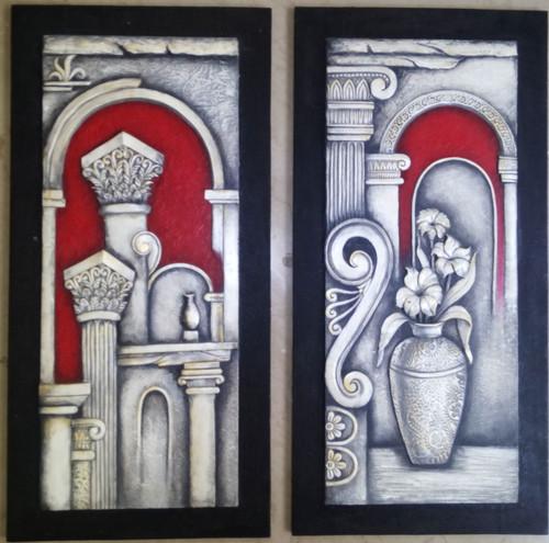 ROMAN STYLE WOODEN MURAL PAINTING,ROMAN MURAL F-9A,ART_1265_12226,Artist : DARSHANA MUTHA,Acrylic