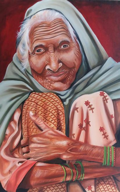 photorealistic,women,old lady,realism,The Potrait of a Lady,ART_889_11410,Artist : Harpreet Kaur,Acrylic