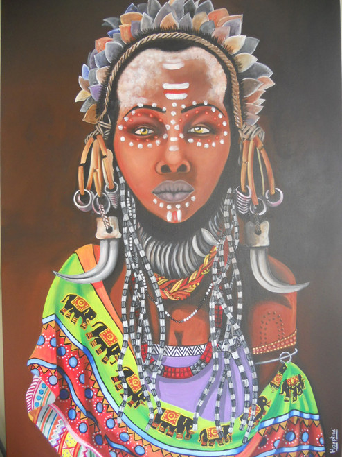 a woman, figurative, feminine, multi colour, tribal, village painting the lost tribe,The Lost tribe,ART_889_6382,Artist : Harpreet Kaur,acrylic on canvas