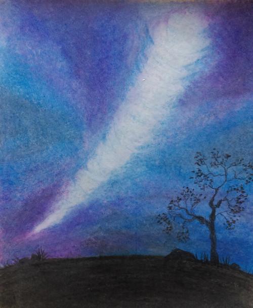 Scenery, Night, Tree, Late evening, Landscape,Wonderful Night Scene,ART_1520_12264,Artist : Vasudha K,Pastels
