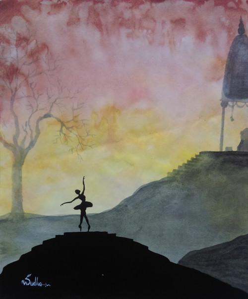 Dancing girl, Ballet, Dawn, hills,Dancing Girl dawn ,ART_1520_12242,Artist : Vasudha K,Poster Colors