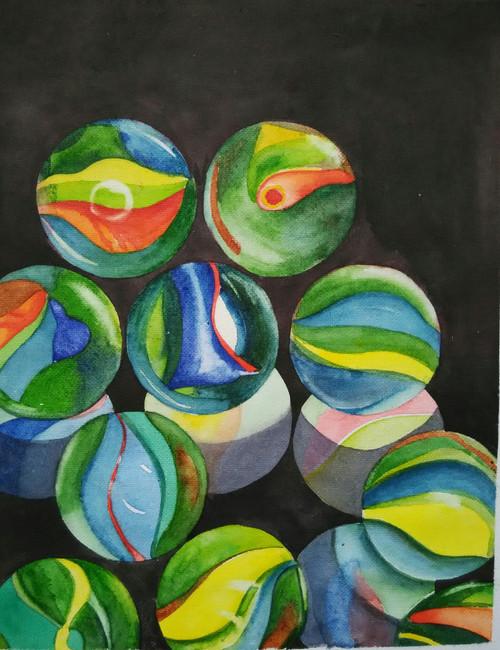 ,Marbles,ART_1243_12252,Artist : Ujwala Chavan,Water Colors