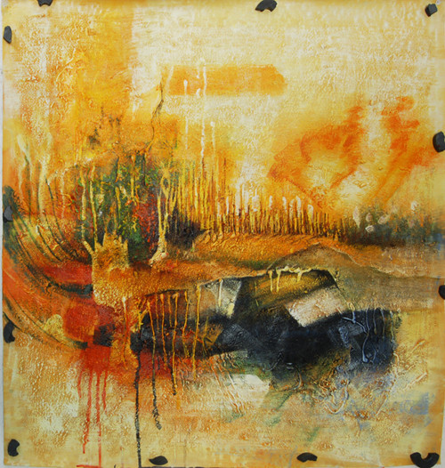Yelstract - 32in X 32in,FIZ016ABR_3232,Yellow, Brown,80X80,Abstract Art Canvas Painting