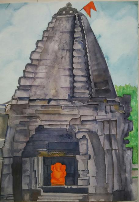 ,Harishchandragad Ganesh Temple,ART_1243_12250,Artist : Ujwala Chavan,Water Colors