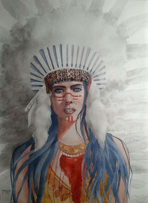 woman ,Squaw2,ART_558_12240,Artist : BHAVIN MEHTA,Water Colors