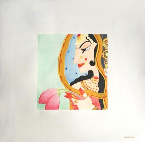 Bani thani , modern art, feminine, potraits, indian history, classic,Bani Thani,ART_1499_12216,Artist : Ashna Ralh,Acrylic