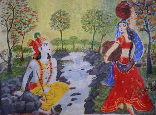 radha krishna, krishna images, fondless, real love images,radha krishna delightful movements in Vridavan,ART_1526_12278,Artist : Ritu Purey,Acrylic