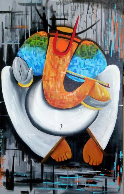 ganesha,Lambodaray,ART_138_6898,Artist : Ila Mishra,Acrylic