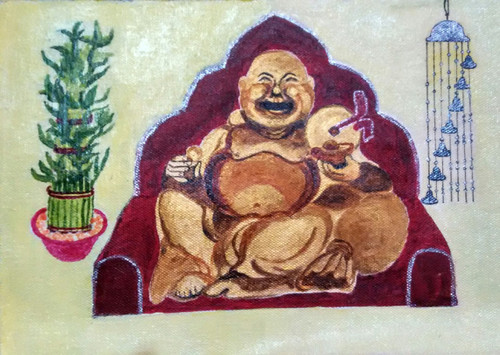 budda, laughing budda, windchime, bamboo, lucky bamboo, 3 layers bamboo,perfect vastu kit,ART_1526_12276,Artist : Ritu Purey,Acrylic
