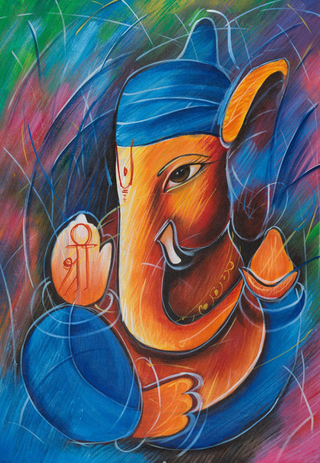 lord ganesha paintings,ganesha paintings,shree paintings,Lord Shree Ganesh,FR_1523_12366,Artist : Community Artists Group,Acrylic