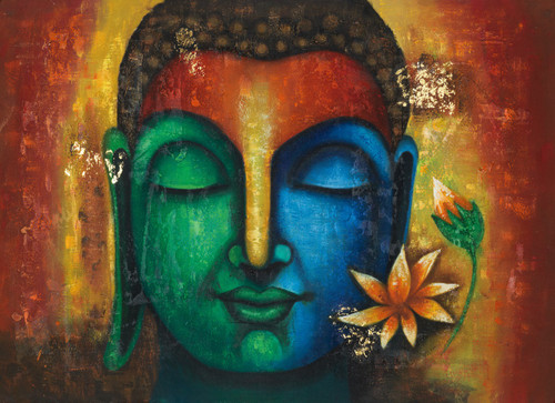 calm buddha paintings,Peaceful buddha,Silent buddha paintings,Buddha paintings with lotus,Calm Peaceful Buddha ,FR_1523_12362,Artist : Community Artists Group,Acrylic