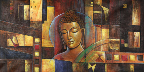 calm buddha,peaceful buddha,buddha paintings,Peaceful Buddha,FR_1523_12348,Artist : Community Artists Group,Acrylic