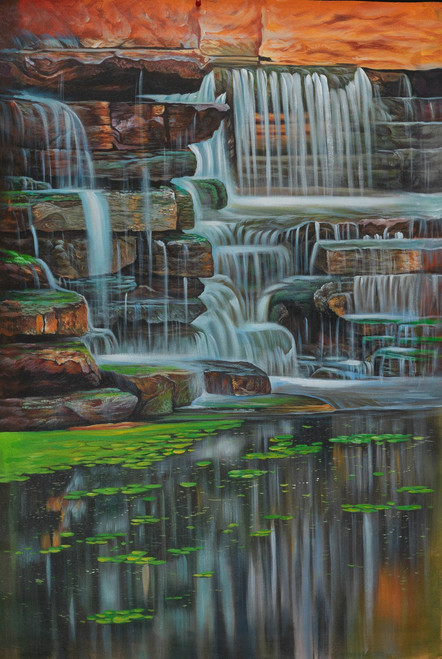 waterfPaintings,Beautiful waterfall,Beautiful Waterfall,FR_1523_12344,Artist : Community Artists Group,Acrylic