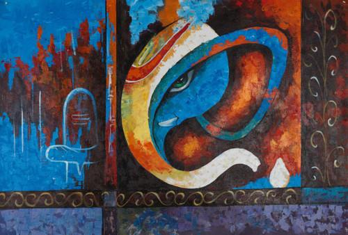 Ganesa Paintings,Bappa paintings,Ekdant paintings,Lord Ganesha,FR_1523_12340,Artist : Community Artists Group,Acrylic