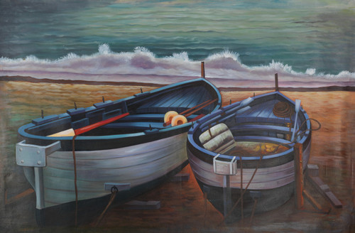 colorful boats,boat painting,blue boat,boats with sea,Beautiful Seating Boats,FR_1523_12339,Artist : Community Artists Group,Acrylic