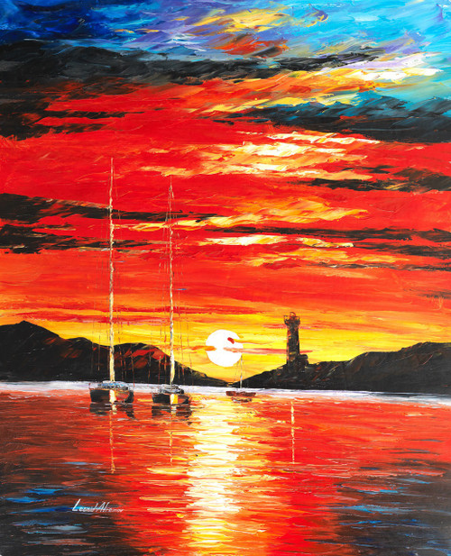 beautiful sunset,peaceful sunset with boat,vivid sunset,lighthouse sunset,Experience Beauty of Sunset,FR_1523_12317,Artist : Community Artists Group,Oil