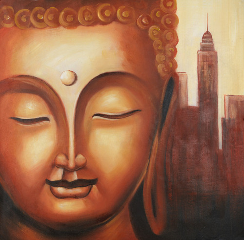 Buddha paintings,peaceful buddha,calm buddha,kind buddha,buddha with monuments paintings,Calm  Buddha,FR_1523_12399,Artist : Community Artists Group,Acrylic
