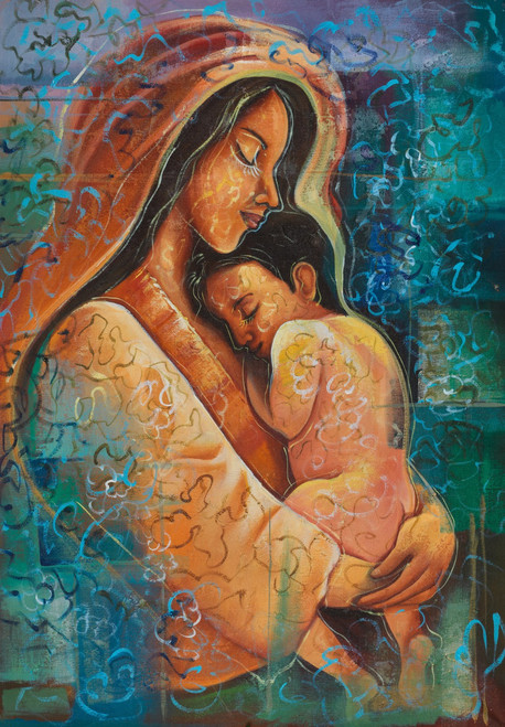 Motherhood paintings,mother with child paintings,lovely motherhood paintings,Love Care and Faith,FR_1523_12389,Artist : Community Artists Group,Acrylic