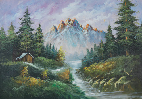 Nature painting,Mountain paintings,beautiful nature paintings,Beautiful Nature,FR_1523_12371,Artist : Community Artists Group,Acrylic