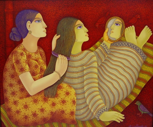 Beautiful figurative paintings,lady paintings,Mid-Day Melody,FR_1523_13198,Artist : Community Artists Group,Acrylic