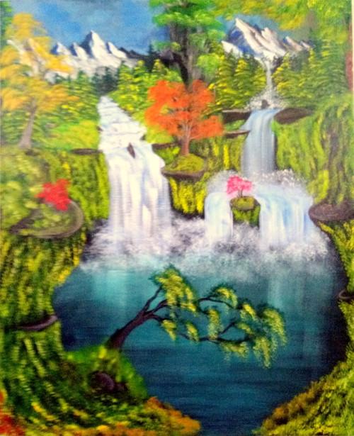 ,heavy waterfall art240720,ART_1456_13208,Artist : Harshit Garg,Acrylic