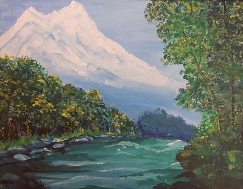 River,tress,mountains,greens,snow,PAINTING OF A RIVER,ART_1537_12290,Artist : Shabana  Rangila,Acrylic