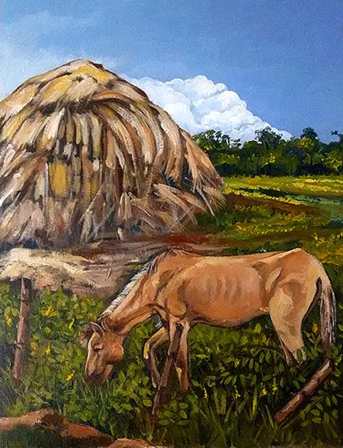Horse, Farm, Barn, Landscape ,The Horse,ART_1024_3725,Artist : Manas Adhikari,Acrylic