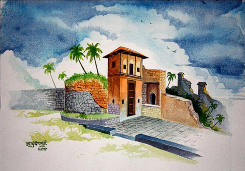 Landscape, Goa, Cloudy evening, Birds, Nature, Hill Station, Hill,Cloudy Evening,ART_1536_12347,Artist : Santosh Salunkhe,Water Colors