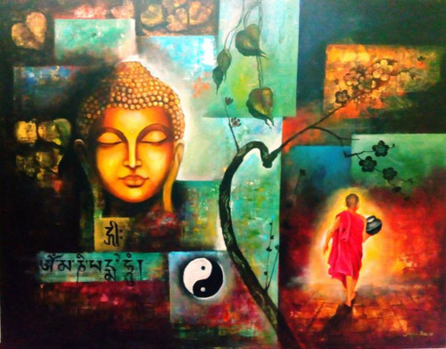buddha painting, religious painting, multi colour painting, monk of buddha,peaceful buddha,ART_82_7475,Artist : Arjun Das,Acrylic