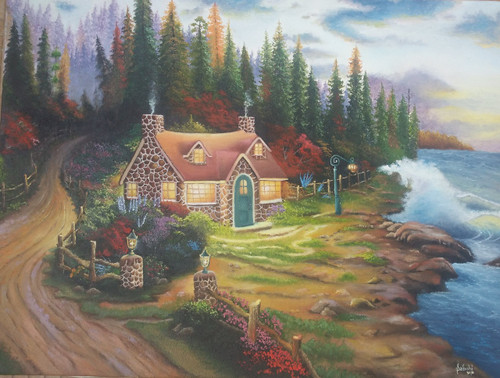 landscape,A Twilight cottage,ART_586_13262,Artist : Sabuhi Khan,Oil