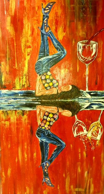 Abstract,Double W Temptation Abstract Art Canvas Painting,ART_1252_13260,Artist : Neeraj Raina,Acrylic