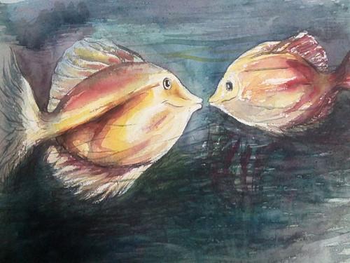 Fish,Fishes under water,ART_1554_13255,Artist : Ratan  Kumar Debnath,Water Colors