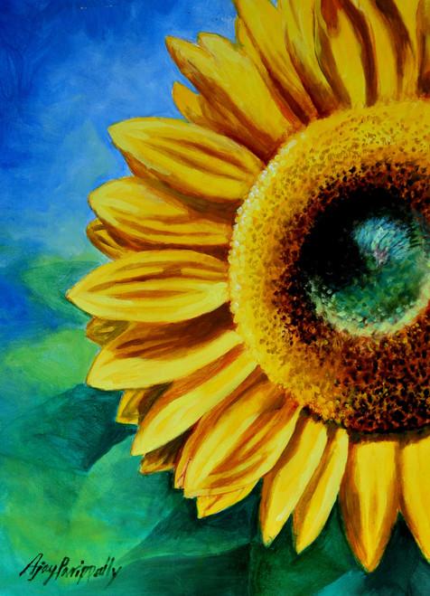 sunflower, yellow, nature, blue, flower,Sunflower in blue sky,ART_1088_13248,Artist : Ajay Parippally,Acrylic