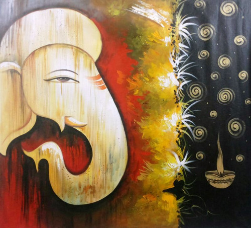 Trishade Ganesh - 30in X 30in,ART_PIJN48_3030,Acrylic Colors,Ganesh,Bappa,Deep,Diya Artist Pallavi Jain,Museum Quality - 100% Handpainted Buy Paintings Online in India