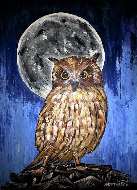 owl,Moonlit  Owl,ART_1252_11406,Artist : Neeraj Raina,Acrylic