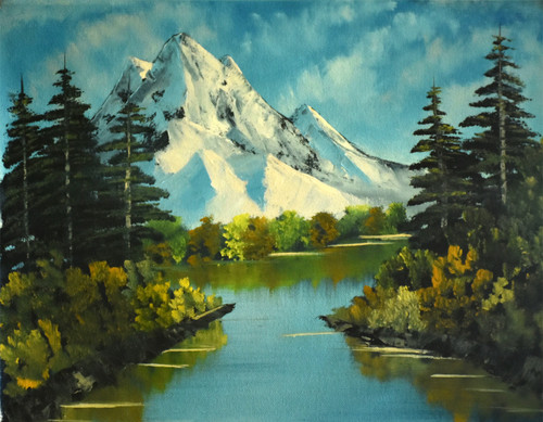 mountain, river, greeneries, forest, oil painting, mountain reflection,Autumn mountain (15 x 12 inch),ART_976_6454,Artist : Goutami Mishra,Oil