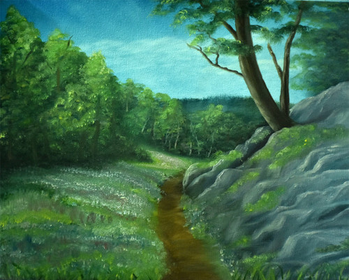 forest, way in  forest, path, landscape, oil painting,Path of Happiness,ART_976_3032,Artist : Goutami Mishra,Oil