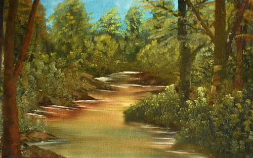 forest, river, oil painting, landscape,Lake Side Forest,ART_976_2578,Artist : Goutami Mishra,Oil