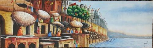 shiva shiv kashi varanasi assi ghat spiritual,kashi shiva nairi,ART_1569_13302,Artist : Manish Toor,Acrylic