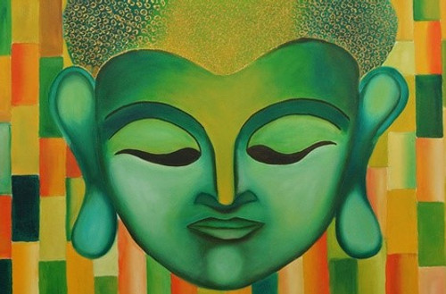 Austerity -  36in x 23in (Border Framed),DISH4_3728,Green,,Buddha;Latest Collection;By Orientation and Size/Horizontal/Large,