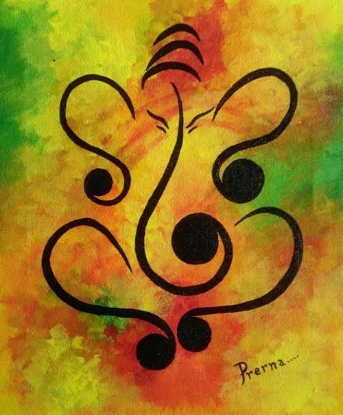 ,Ganesha Holi,ART_1564_13270,Artist : Prerna Duggal,Acrylic