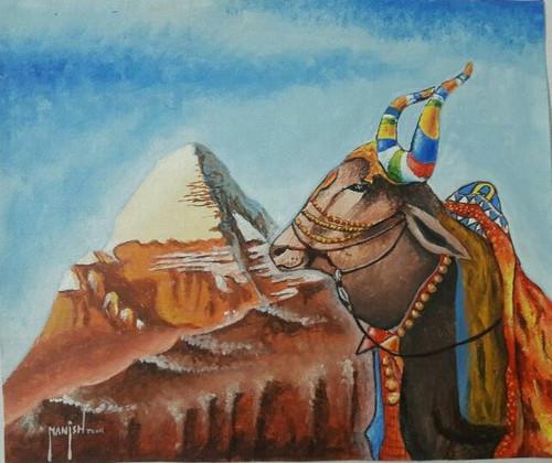 shiva, shiv, indian god, spiritual, india,nandi, kailash, himalyas, india,Nandi,ART_1569_13307,Artist : Manish Toor,Acrylic