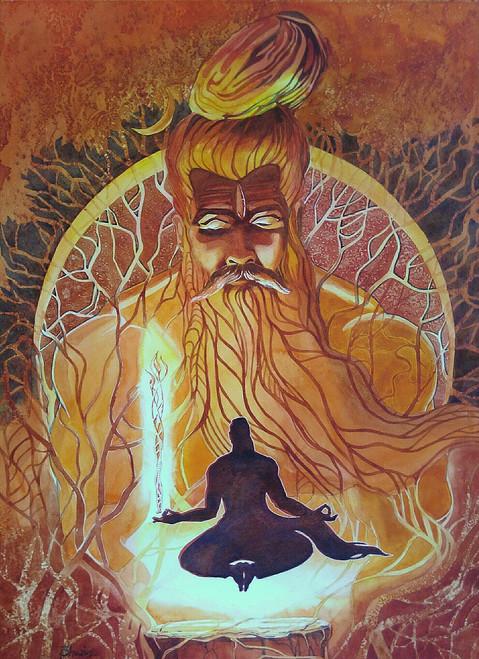 mahadev arjun religious mahabharat,Pashupatastra,ART_558_13263,Artist : BHAVIN MEHTA,Water Colors