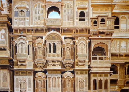 jaiselmer ki haveli,rajasthani haveli,,rajasthani haveli,ART_119_13331,Artist : Anita Raj,Oil