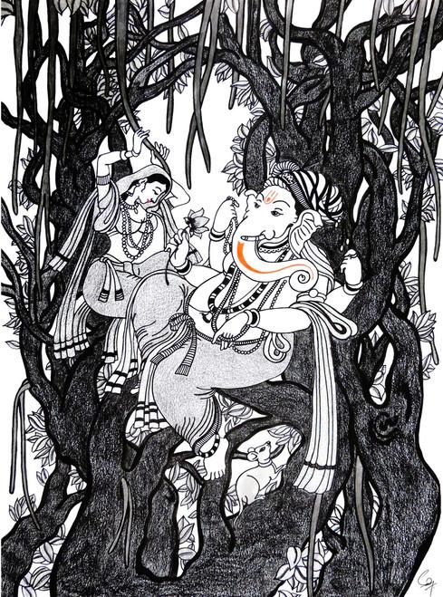 Ganesha, Ganesh, Dancer, Happy, Joy, Peaceful,Tree, Happiness,The Tree of Happiness,ART_1558_13347,Artist : Sandeep Handa,Mixed Media