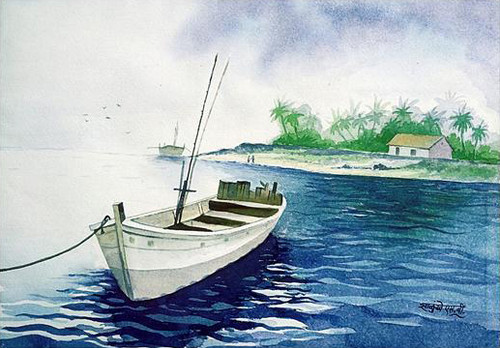 Sea Scape, Kokan, Konkan Kinara, Landscape, beautiful Landscape, Nature, Beautiful Painting,,It's Time To Take Rest,ART_1536_12359,Artist : Santosh Salunkhe,Water Colors