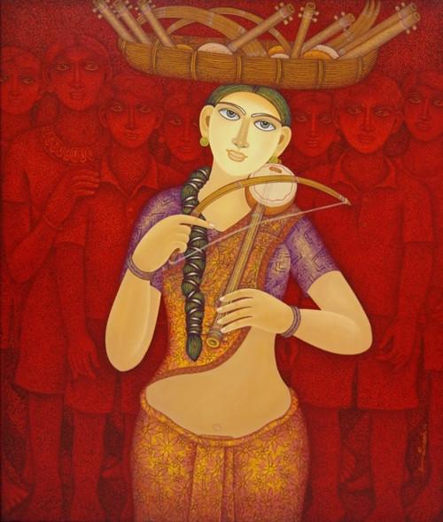 The beautiful women painting,village life paintings,women craft painting,Nostalgic Melody,FR_1523_13362,Artist : Community Artists Group,Acrylic