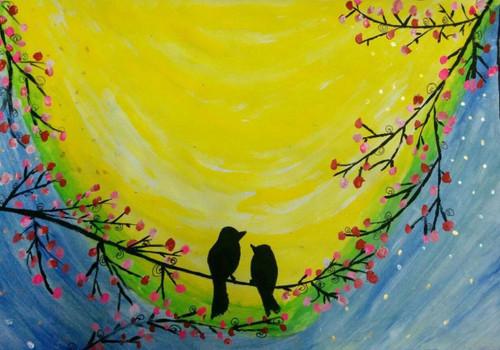 Love Birds 24in X 36in Rajven03 2436 Acrylic Colors Bird Pair