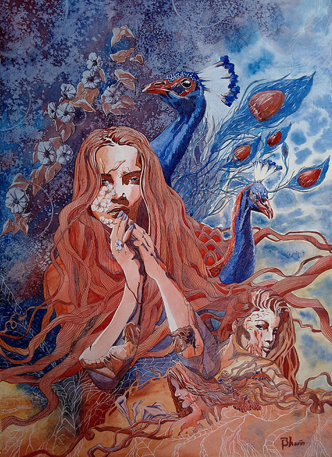 woman, human, figurative, feminine, female, brown color painting,Mugdha,ART_558_13376,Artist : BHAVIN MEHTA,Water Colors