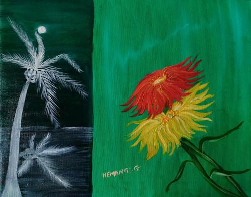Contrast, Life, floral, flower, nature,Contrast Life & Alone,ART_1337_13397,Artist : HEMANGI GAWAND,Oil